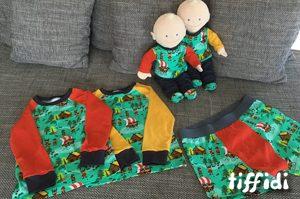 Boxershort, Raglanshirt nach dem Schnittmuster von klimperklein. Puppenkleidung nach dem Buch Puppenkleidung aus Jersey nähen.