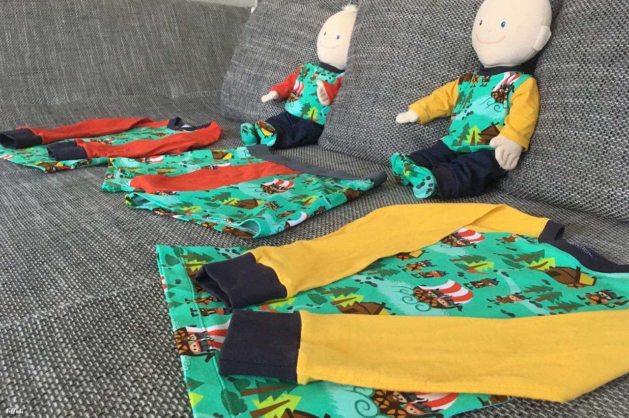 Wikingerstoff vernäht zu einer Boxershort, Puppenkleidung und Raglanshirts